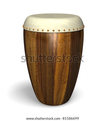 Traditional wooden conga drum isolated on a white background
