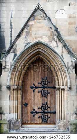 Traditional wooden entrance to church, Scotland - stock photo