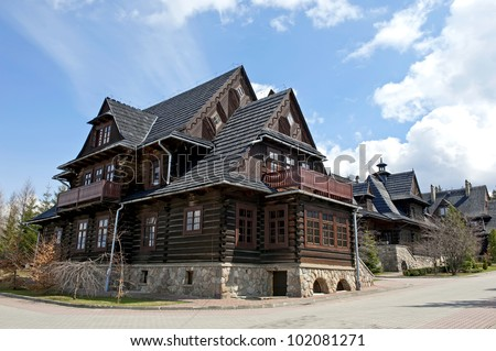 Traditional wooden house in mountains, Poland. - stock photo