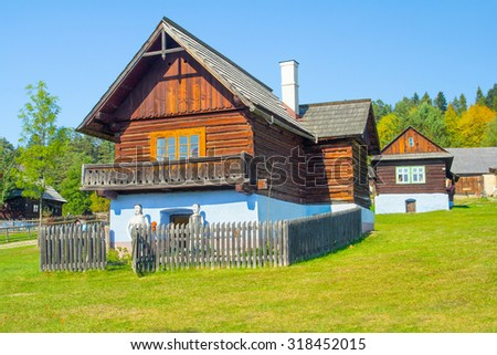 traditional wooden house village - stock photo