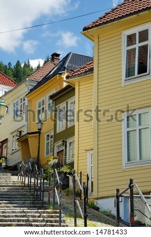 Traditional wooden houses in an alley in Bergen, Norway