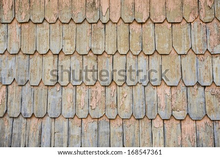 Traditional wooden roof tile of old house in Chile. - stock photo