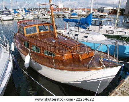Traditional wooden sailboat in Assens Marina Denmark