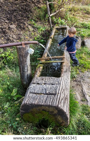 Wooden trough stock photos royalty free images vectors shutterstock - Household water treatment a traditional approach ...