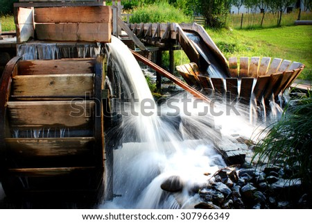 Traditional wooden whirlpool - stock photo