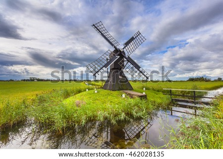Traditional Wooden Windmill to Pump out Water from a Polder near Leeuwarden, Friesland, Netherlands