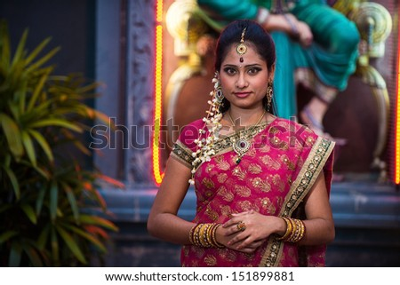traditional Young indian womanin the temple  - stock photo
