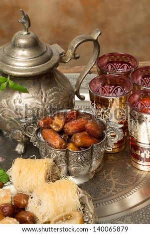 Traditionally dates are eaten at sunset during Ramadan month - stock photo