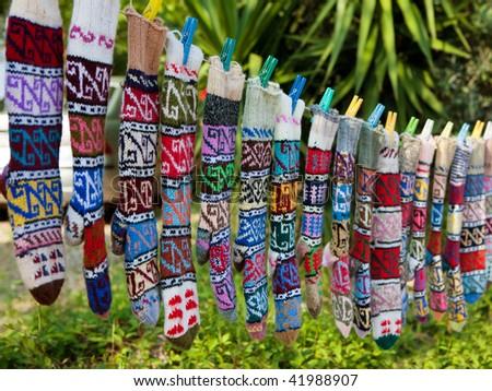 Traditionally figured stockings in some turkish street market - stock photo