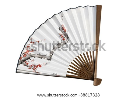 Traditionally painted Chinese fan.  The fan has been opened up to reveal a tree with blossom on it.  The fan is a symbol of Chinese culture. - stock photo