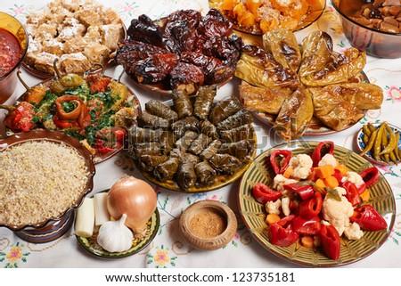 Traditionasl Bulgarian Christmas vegetarian food on holiday table - stock photo
