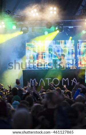Traena, Norway - July 07 2016: Set of Norwegian DJ Matoma at Traenafestival, music festival taking place on the small island of Traena