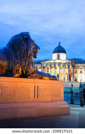 Trafalgar Square at night, London, England, UK  - stock photo