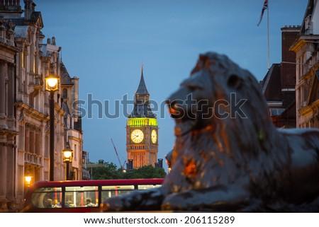 Trafalgar Square & Big Ben at night, London, England, UK  - stock photo