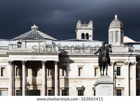 Trafalgar Square in London, England, Europe - Stormy background - stock photo