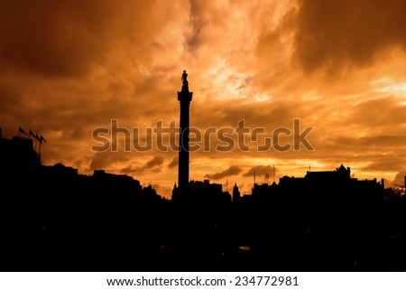 Trafalgar Square in London United Kingdom, filter effect - stock photo