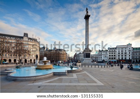 Trafalgar Square is a public space and tourist attraction in central London. Landscape shot with tilt-shift lens maintaining verticals - stock photo