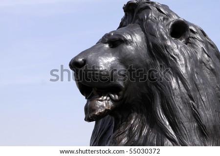 Trafalgar Square Lion Statue in London. England - stock photo