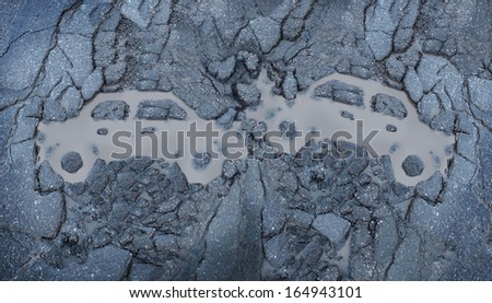 Traffic accident between two cars as a concept of a car crash with a symbol of automobile vehicles involved in a wreck shaped as a wet road pot hole made from broken cracked asphalt  pavement. - stock photo