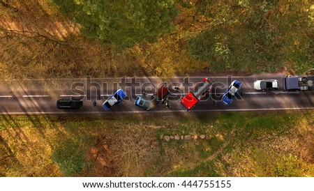 Traffic accident with vehicles aerial view - stock photo