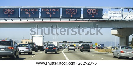 Traffic approaching Bay Bridge Toll Plaza, San Francisco - stock photo