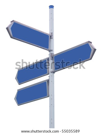 Traffic arrows pointing in several directions, isolated against background - stock photo