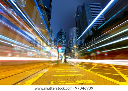 traffic at city in night - stock photo