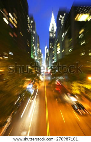 Traffic at night on 42nd Street, New York City - stock photo