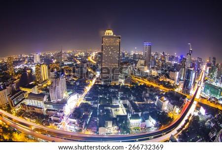 Traffic at night, View Point  Bangkok, Thailand - stock photo