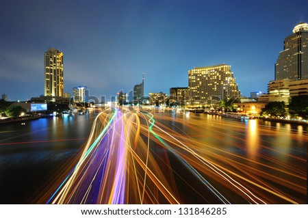 Traffic at night, View Point on a Taksin Bridge, Bangkok, Thailand - stock photo