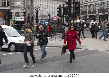 Traffic at Piccadilly Circus - London, England - stock photo