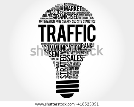 TRAFFIC bulb word cloud, business concept - stock photo