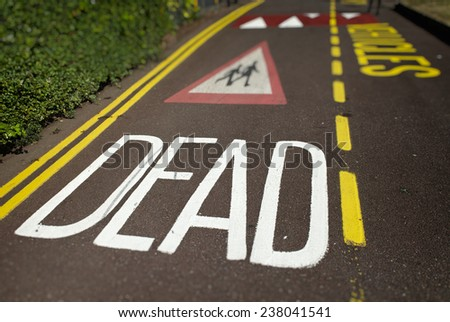 Traffic Calming Measures Painted on Road - stock photo
