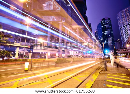 traffic car light stream at night - stock photo