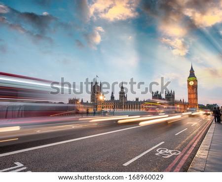 Traffic car lights on Westminster Bridge - London, England. - stock photo