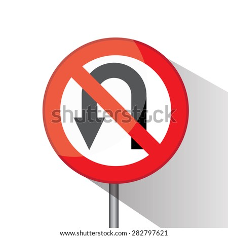 Traffic circle shaped No U â?? Turn (Left ) sign with post on white background