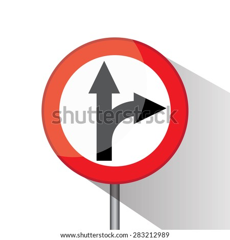 Traffic circle shaped Right Turn Split  sign with post on white background