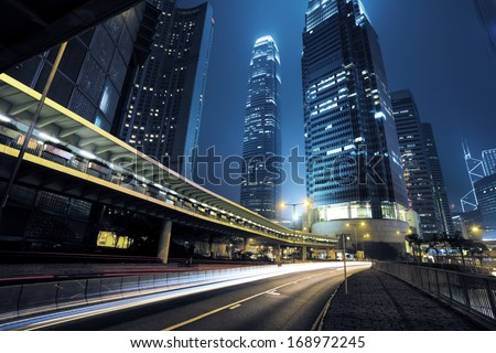 traffic city night  at hongkong,china - stock photo