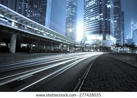 traffic city night  at hongkong,china - stock photo