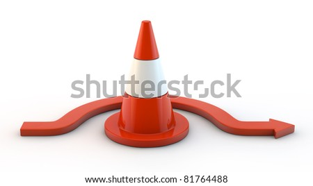traffic cone and arrow isolated
