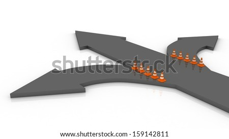 Traffic cone and arrow on white background - stock photo