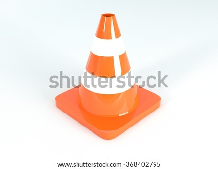 Traffic cone, 3d illustration - stock photo
