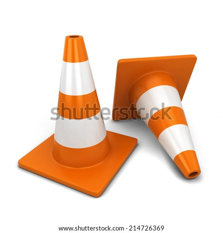 Traffic cone. 3d illustration isolated on white background  - stock photo