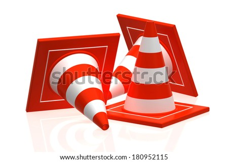 traffic cone isolated on white - 3d rendering - stock photo