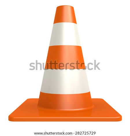 Traffic cone isolated with white background image with hi-res rendered artwork that could be used for any graphic design. - stock photo