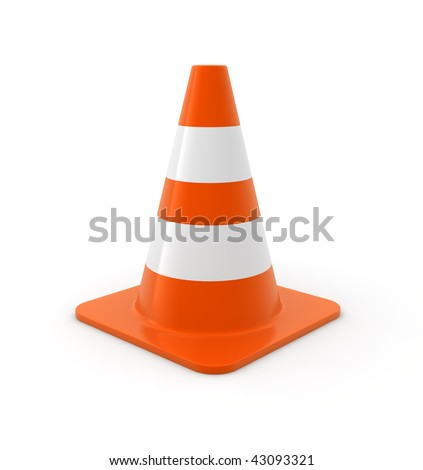 Traffic cone on white Background. Computer generated image. - stock photo