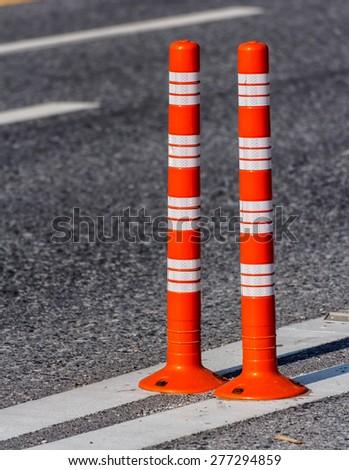 Traffic cone Traffic cone in the road - stock photo