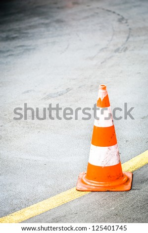 traffic cone with space for text - stock photo