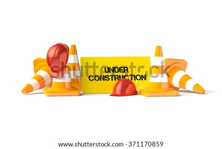 Traffic cones and helmets as transport industrial objects. - stock photo