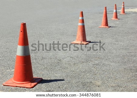 traffic cones background for use in industrial, car park, construction,  - stock photo